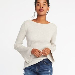 Cream Boat Neck Ribbed Bell Sleeve Sweater